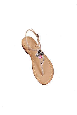 Pink and grey quatrefoil jewel sandals Da Costanzo | 5032256 | S3974ROSA