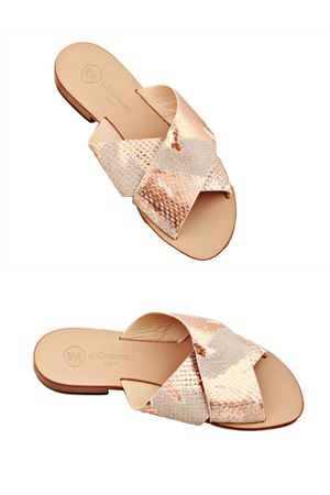 Pink python Capri sandals with double cross on the feet Da Costanzo | 5032256 | TV2496ROSA