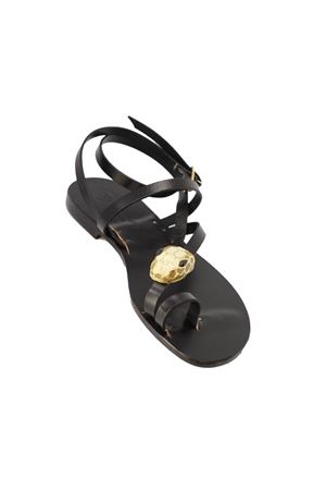 Sandali Capresi gioiello con rettile nero Da Costanzo | 5032256 | ZIGRETTILENERO