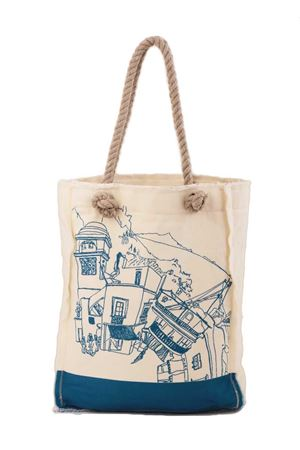Cotton shopper with Piazzetta of Capri light blue Eco Capri | 31 | BORSA TOTE CAPRI 360CERIO BLU