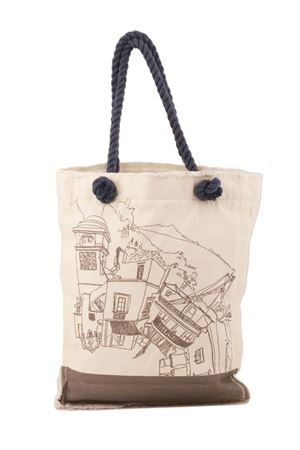 Cotton shopper with Piazzetta of Capri grey Eco Capri | 31 | BORSA TOTE CAPRI 360GRIGIO