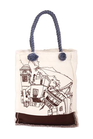 Cotton shopper with Piazzetta of Capri brown  Eco Capri | 31 | BORSA TOTE CAPRI 360MARRONE