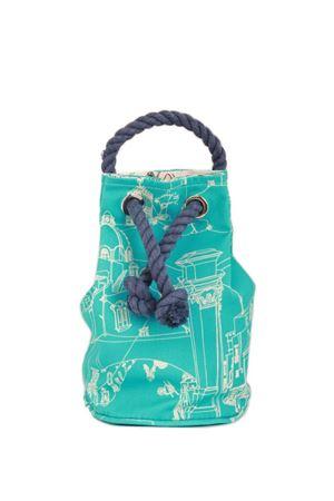 Cotton sac bag with cord handle Eco Capri | 31 | CAPRI BAG ECOCASSETTE TURCHESE/BIANCO