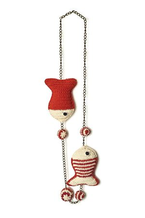 Handmade cotton necklace with fishes Eco Capri | 35 | COLLANA 2FAT FISH