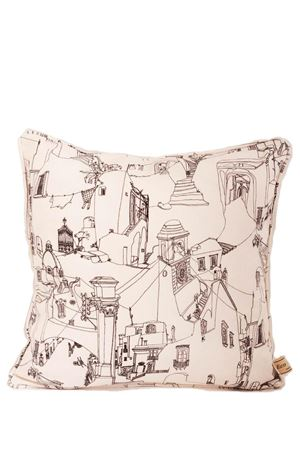 Capri houses pattern cotton pillow Eco Capri | 20000024 | CUSCINO ECOCAPRI CASSETTE