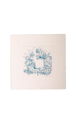 Light blue print of Piazzetta di Capri Eco Capri | 20000025 | STAMPA 2PIAZZA 360 PC