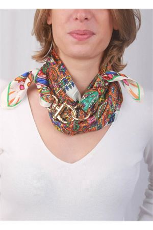 Cashmere fantasy silck and acrylic scarf with hook closure Grakko Fashion | -709280361 | GRCASHBBIANCO