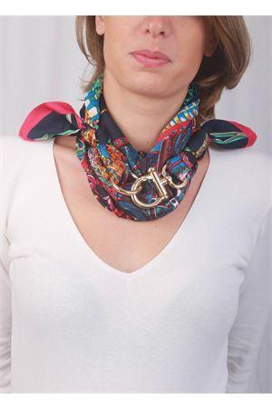 Blue Capri scarf with gold hook closure Grakko Fashion | -709280361 | GRFANBLU