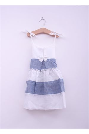 baby girl white and blue linen dress La Bottega delle Idee | 5032262 | AMELIAAZZURRO