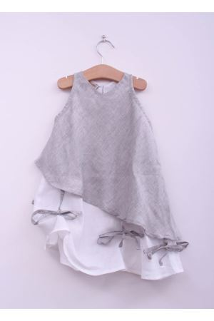 Grey and white linen dress for baby girl La Bottega delle Idee | 5032262 | SBUFFOGRIGIO