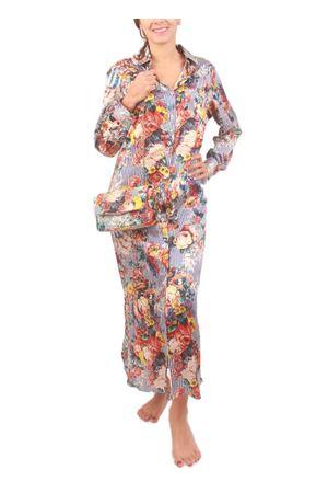 Vestito chemisier in seta a fiori e righe Laboratorio Capri | 5032262 | BRIGITTERIGA BLU SANDERSON