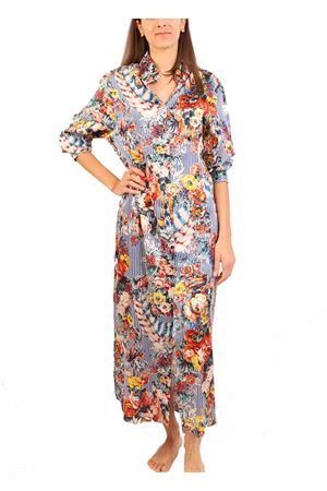 Vestito chemisier in seta a fiori e righe Laboratorio Capri | 5032262 | BRIGITTEllabRIGA BLU SANDERSON