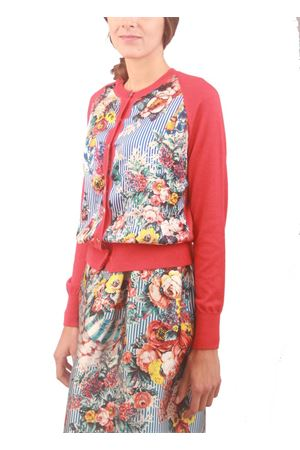 Cashmere and silk red cardigan with flower and stripes pattern  Laboratorio Capri | 39 | C.R.D. SANDERSONROSSO/RIGA