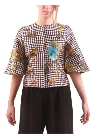 Silk short jacket with squared pattern Laboratorio Capri | 3 | CHIC1BLU
