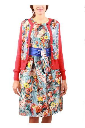 Vestito svasato lunguette in seta a fiori Laboratorio Capri | 5032262 | CLARETTASCUBA RIGA BLU