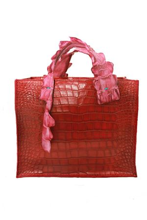 Red crocodile leather bag Laboratorio Capri | 31 | GRETA1ROSSO/FUCSIA