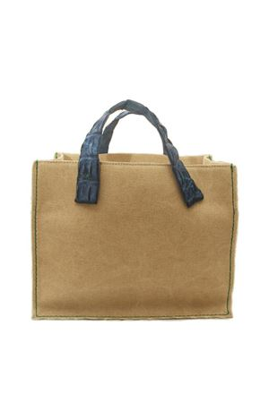 Canvas rigid bag with crocodile handle Laboratorio Capri | 31 | GRETACOBALTO
