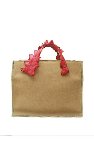 Rigid canvas handbag with fuxia crocodile handles Laboratorio Capri | 31 | GRETAFUXIA