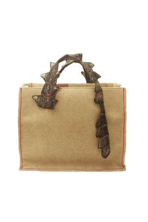 Handbag in canvas with grey crocodile handles Laboratorio Capri | 31 | GRETAGRIGIO SCURO