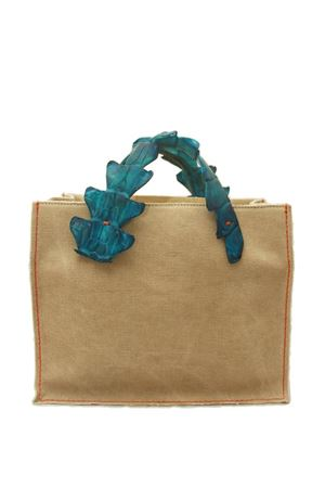 Rigid canvas handbag with crocodile handles Laboratorio Capri | 31 | GRETAJADA