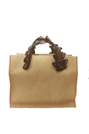 Rigid hand bag in canvas with crocodile handles Laboratorio Capri | 31 | GRETAMORO
