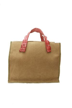 Handbag in canvas with pink crocodile handles Laboratorio Capri | 31 | GRETAROSA PASSIONE