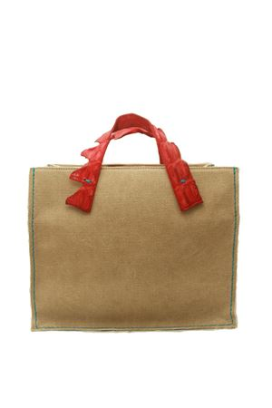 Rigid handbag in canvas with red crocodile handles Laboratorio Capri | 31 | GRETAROSSO