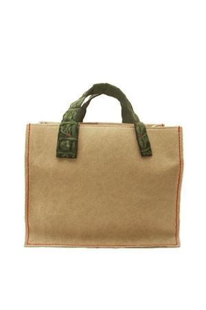 Handbag in canvas with dark green crocodile handles Laboratorio Capri | 31 | GRETAVERDE BOTTIGLIA