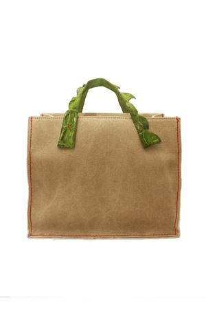 Rigid handbag in canvas with green handles in crocodile leather Laboratorio Capri | 31 | GRETAVERDE PRATO