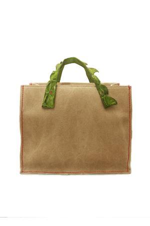Borsa in tela rigida con manico in coccodrillo verde chiaro Laboratorio Capri | 31 | GRETAVERDE PRATO