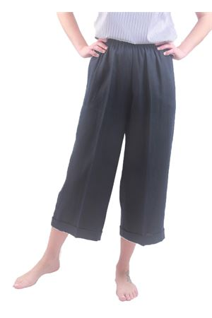 Blue navy linen pants with wide leg Laboratorio Capri | 9 | NEW RODBLU