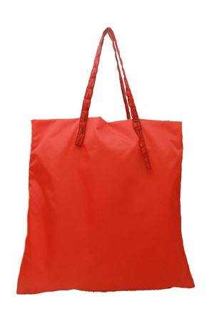 Shopper in nylon corallo con manici in coccodrillo rossi Laboratorio Capri | 31 | SANTAMARIACORALLO/ROSSO