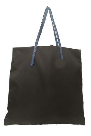 Shopper in nylon nero con manici in coccodrillo Laboratorio Capri | 31 | SANTAMARIANERO/BLU