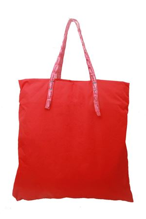 Red nylon shopper with crocodile handles Laboratorio Capri | 31 | SANTAMARIAROSSO/FUCSIA