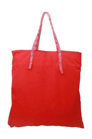 Shopper in nylon rosso con manici in coccodrillo Laboratorio Capri | 31 | SANTAMARIAROSSO/FUCSIA
