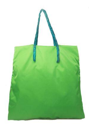 Borsa in nylon e coccodrillo verde modello shopper Laboratorio Capri | 31 | SANTAMARIAVERDE/TURCHESE