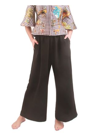 Black elasticized trousers with wide leg  Laboratorio Capri | 9 | MELBOURNENERO