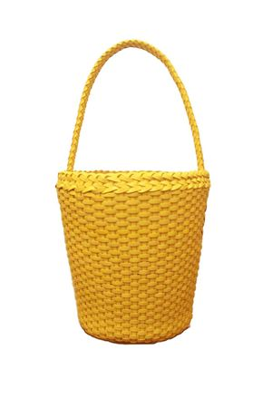 Borsa in pelle intrecciata modello paniere Laboratorio Capri | 31 | ZANDRIA ART 080YELLOW