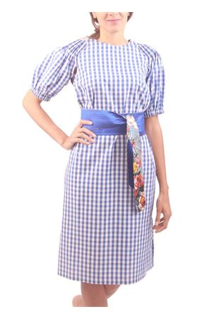 Longuette white and blue cotton dress M. La Rosa per Laboratorio Capri | 5032262 | PRETTYGINGHAM/B.AZZ
