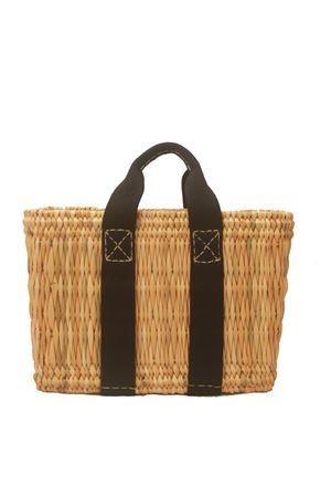 Straw bag with black shoulder belt Rue de Verneuil per Laboratorio Capri | 31 | MINI-TOTES1/F NAVY