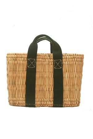 Straw bag with green removable shoulder belt Rue de Verneuil per Laboratorio Capri | 31 | MINI-TOTES2/E GREEN