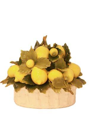 Big decorative ceramic basket with lemons Sea Gull Capri | 20000025 | CESTO OVALE GROVALE GRANDE