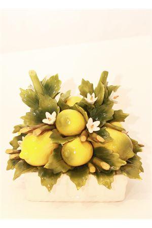 Ceramic basket with lemons and flowers  Sea Gull Capri | 20000025 | CESTO QUADRO LIM+FIORILIMONI E FIORI