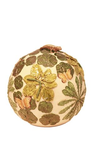 Decorative ceramic ball with lizard  Sea Gull Capri | 20000025 | SFERA FOGLIE+LUCERTOLEVERDE E LUCERTOLE