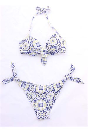 Majolica print bikini with balcony bra  Aram Capri | 85 | ACBC109MAIOLICAGIALLA