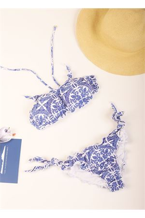 Band bikini with blue majolica pattern  Aram Capri | 85 | ACBD019BLU