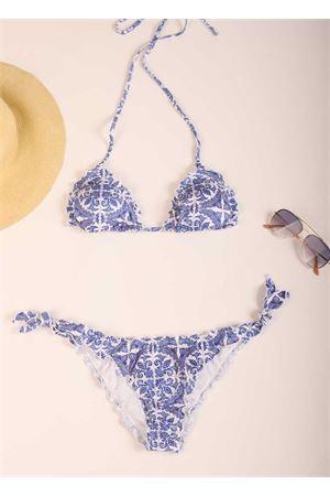 Bikini with triangle majolica Aram Capri | 85 | ACTR019BLU