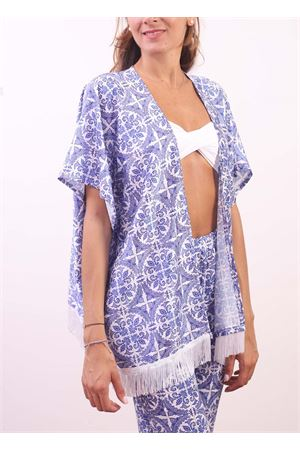 Majolica pattern jacket with fringes Aram Capri | 5032233 | CP102002BLU