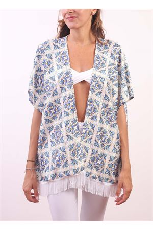 Polyester jacket with majolica pattern Aram Capri | 5032233 | CP10206MAJOLICAARANCIO