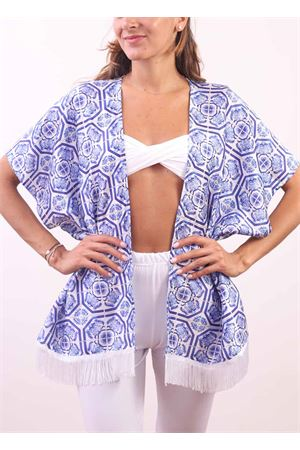 Polyester jacket with majolica pattern Aram Capri | 5032233 | CP10208MAIOLICABLU